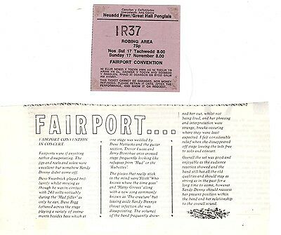 FAIRPORT CONVENTION Great Hall Penglais Aberystwyth Ticket 1970s Folk