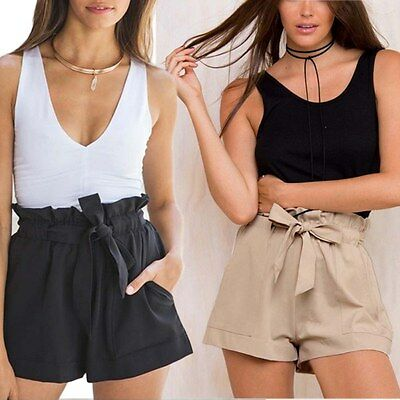 Women Summer Solid Color Hot Pants Casual Shorts High Waist Beach Short Pants