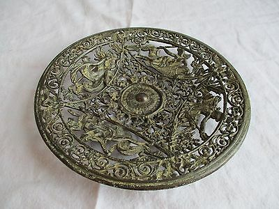 Antique Coalbrookdale Enamel Bronze Cast Iron Decorative Plate Mermaids & Mermen