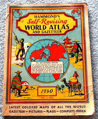 Hammond's Self Revising World Atlas and Gazetteer 1940 c