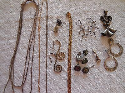 Sterling Silver Scrap Mixed Jewelry  necklace pins earrings bell pennant 78 gr