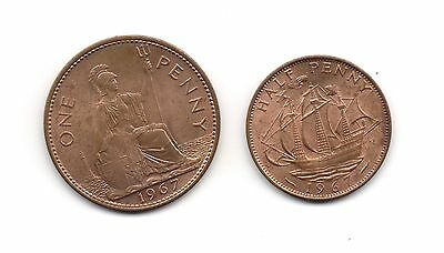 1967 Great Britain Large 1 Penny with 1/2 Penny Set Both Very Nice Grade