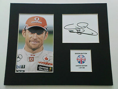 Limited Edition Jenson Button F1 Formula One Signed Mount Display AUTOGRAPH
