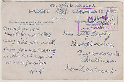 1915 New Zealand Military Post Office Reinforcement Expeditionary Force Ww1 Ppc