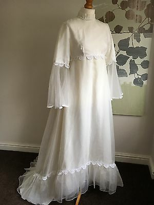 Empire Cut Ivory White Vintage 1970's Wedding Dress 12 14