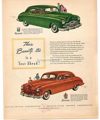 1946 KAISER Special Green 4-Door FRAZER Orange 4-door art VTG PRINT AD