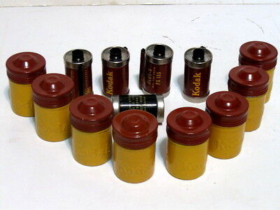 8 Vintage Kodak Metal Canister Container Screw Lids 5 w/ Film.