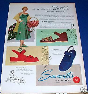 1952 Summerettes Shoes Ad actress Mona Freeman sundress