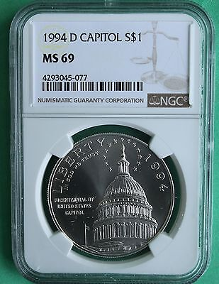 1994 D Silver US Capitol Dollar US Mint NGC Graded Coin MS 69