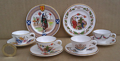 Caverswall - Selection Of Miniature Tea Cups, Saucers & Plates - M. Grant
