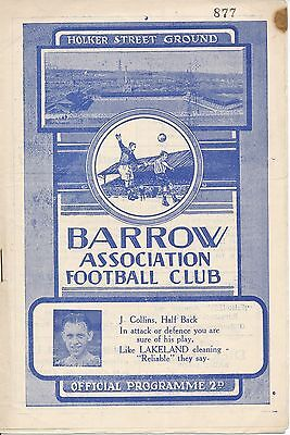 Barrow v Oldham Athletic 1951/2 - Football Programme