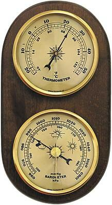 Weather Station Barometer Thermometer Quality Instrument Gold Coloured Dials New