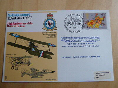 RAF, 43 Sqdn, 34th Anniv of Battle of Britain, 1974 commemorative cover PHANTOM
