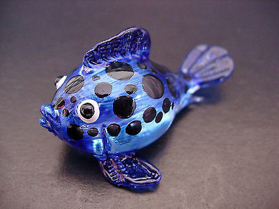 Glass PUFFER, CAT FISH, Hand Painted, Spotted Blue Glass Ornament, Tropical Fish