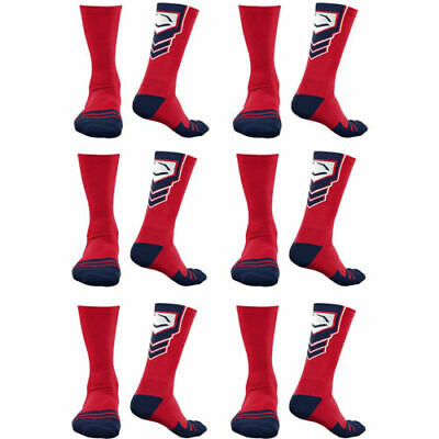 EvoShield Performance Crew Socks Red w/ Navy & White Large (6 pack)