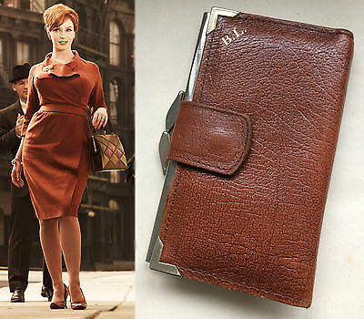 Vintage 50s 60s MAD MEN Era Womens Tan Real Leather Purse Wallet Initial BL Kiss