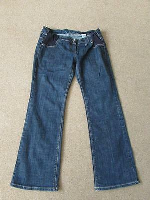 NEXT Ladies Dark Blue Indigo Denim Bootcut Under Bump MATERNITY Jeans Size 14 S