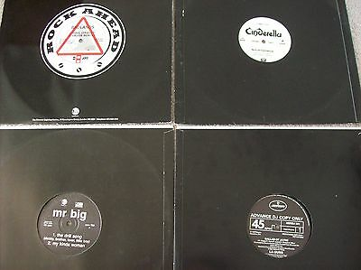 "4 X 12"" Promo Vinyl Bundle, La Guns, Mr Big, Badlands, Cinderella"