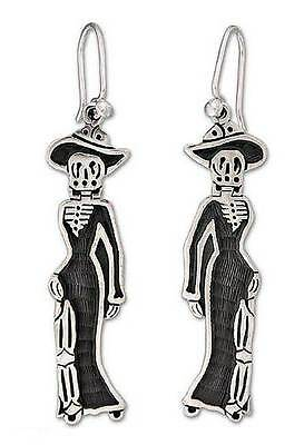Silver Dangle Earrings Sterling 925 Handmade 'Catrina Chic' NOVICA Mexico