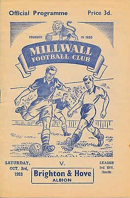 Millwall v Brighton 1953/4 - Football Programme
