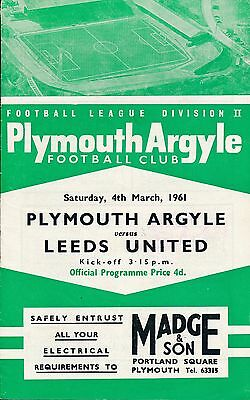 Plymouth v Leeds United 1960/1 - Football Programme