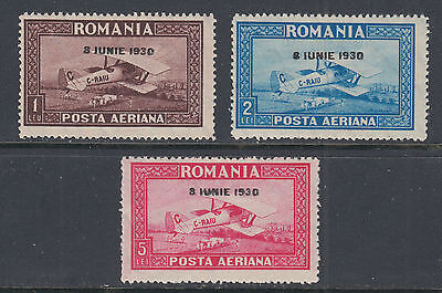 Romania C7-C9 F-VF LH 1930 Airmail Set Overprinted for King Carol II Accession