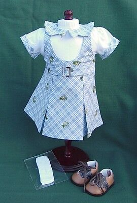 American Girl KIT Retired BLUE PLAID SCHOOL JUMPER OUTFIT REPRO w SHOES SOCKS