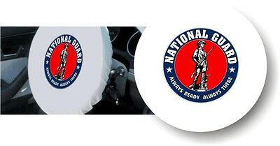 WHITE 100% Micro Fiber US NATIONAL GUARD Stretchable Steering Wheel Cover