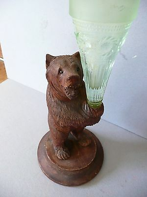 Carved Black Forest Bear posy holder