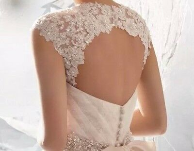 Ladies Wedding Removable Lace Top Shawl Bolero Straps Size S-M