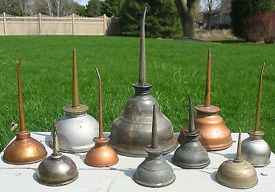 Vtg Antique Lot Metal Thumb Pump Press Oil Cans 10 Bottle Singer Eagle Old Cycle