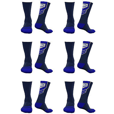 EvoShield Performance Crew Socks Navy with Royal Small (6 pack)