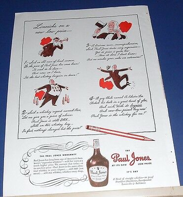 1940 Paul Jones Whiskey Ad ~ Limericks on a new low price ~ cute & unusual