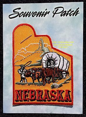 LMH PATCH Badge  NEBRASKA Pioneer Trail  COVERED WAGON Mountain  CHIMNEY ROCK NE