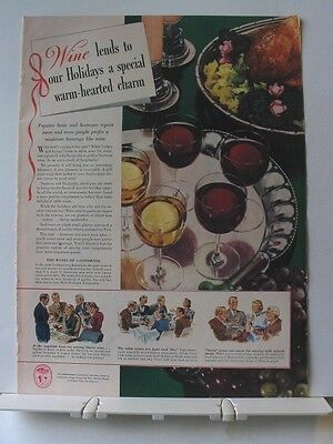 1940 California WINE turkey & fixings Ad~lends warm-hearted charm to holidays
