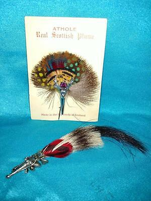 2 Plumes ~ ATHOLE Real Scottish Plume on Card + Another Plume
