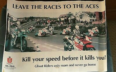 ISLE OF MAN TT dept of transport 1980,s era poster / leave the races to the aces