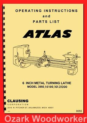 "ATLAS-CRAFTSMAN 6"" Metal Lathe Model 3950, 10100, 101.21200 Parts Manual 0055"