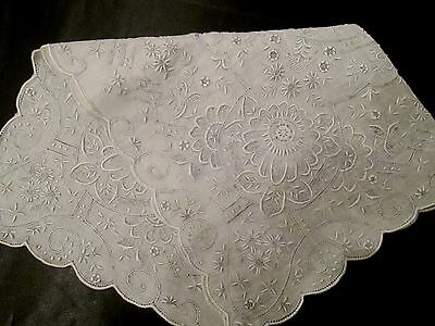 Vintage Elaborate Heavily Madeira Hand Embroidered Wedding linen hanky