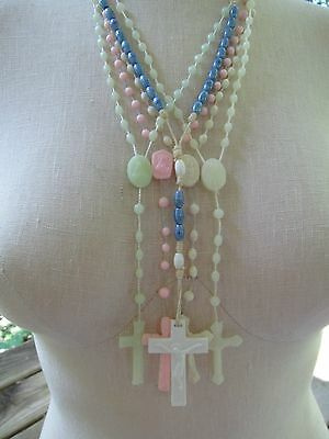 LOT 5 Vintage Plastic Rosary Necklace Glow In the Dark Pink White Italy Beads