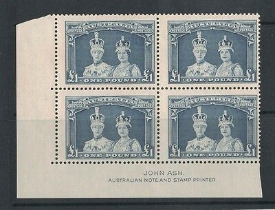 1938 Australia Robes One Pound SG 178a thick paper impr. block 2muh/2mlh