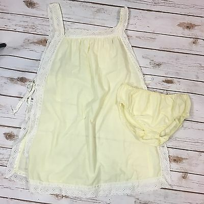Vtg 60s Tempo Lingerie Womens Yellow Side-Tie Babydoll Teddy & Panties Medium