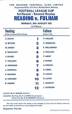 Reading v Fulham (League Cup 2nd Replay) 1972/3 s/s