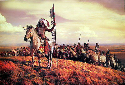 """Native American Indian Poster: """"Indian Chief & Warriors Ready For Battle"""""""