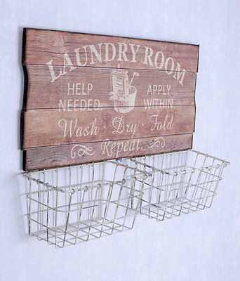 Wall Basket Laundry Room Metal Basket Filing Cabinet Wall Board Shabby Chic