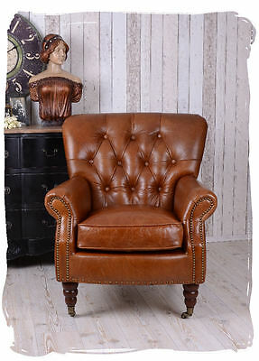 English Club Chair Artdeco Classic Chesterfield Leather