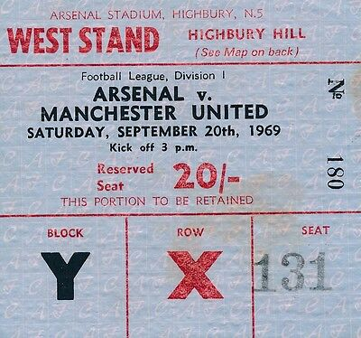 TICKET: Arsenal v Manchester United 1969/70