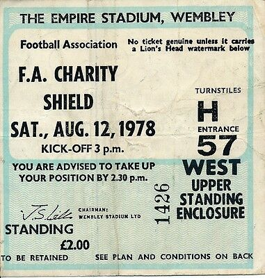 TICKET: FA CHARITY SHIELD 1978 Ipswich v Nottingham Forest