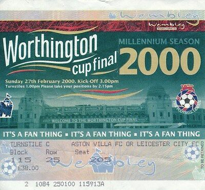TICKET: LEAGUE CUP FINAL 2000 Leicester City v Tranmere