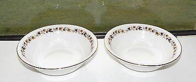 Royal Kent Staffordshire Bone China Golden Glory 2 x Cereal Bowls 16cm c1970s